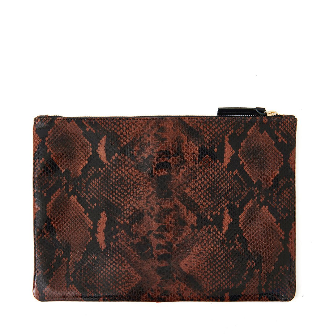 Cocoa Python Flat Clutch - Back
