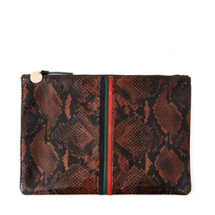 Cocoa Python Flat Clutch - Front