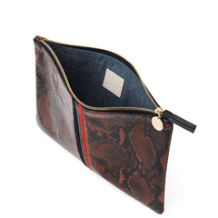 Cocoa Python Flat Clutch - Interior