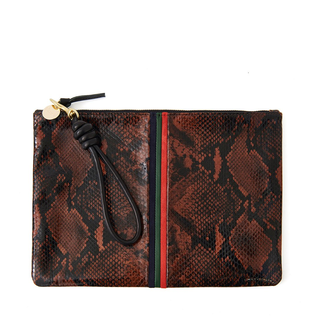 Cocoa Python Flat Clutch with Black Cord Wristlet