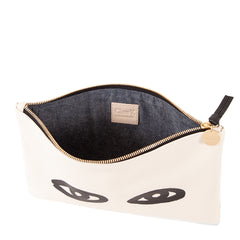 Cream with Eyes Flat Clutch - Interior