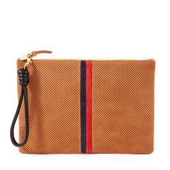 Cuoio Perf w/Stripes Flat Clutch with Black Cord Wristlet