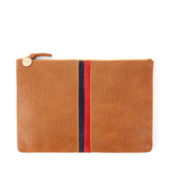 Cuoio Perf w/Stripes Flat Clutch - Front