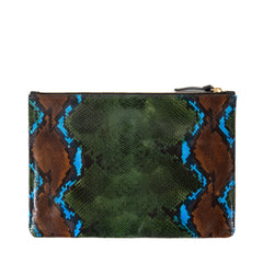 Evergreen Snake with Mini Stripes Flat Clutch - Back