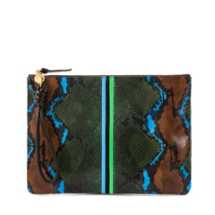 Evergreen Snake with Mini Stripes Flat Clutch with Black Cord Wristlet