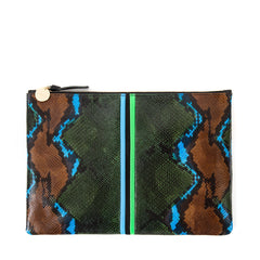 Evergreen Snake with Mini Stripes Flat Clutch - Front