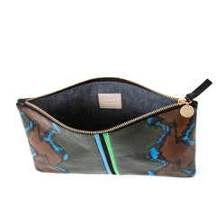Evergreen Snake with Mini Stripes Flat Clutch - Interior