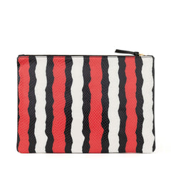 Poppy Striped Snake Flat Clutch - Back