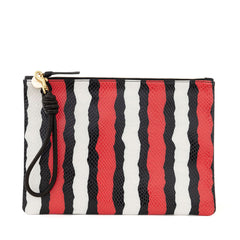 Poppy Striped Snake Flat Clutch with Cord Wristlet