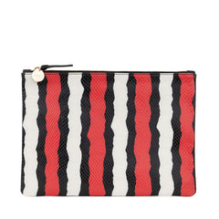 Poppy Striped Snake Flat Clutch - Front