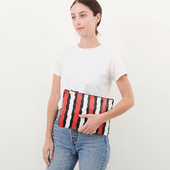Poppy Striped Snake Flat Clutch