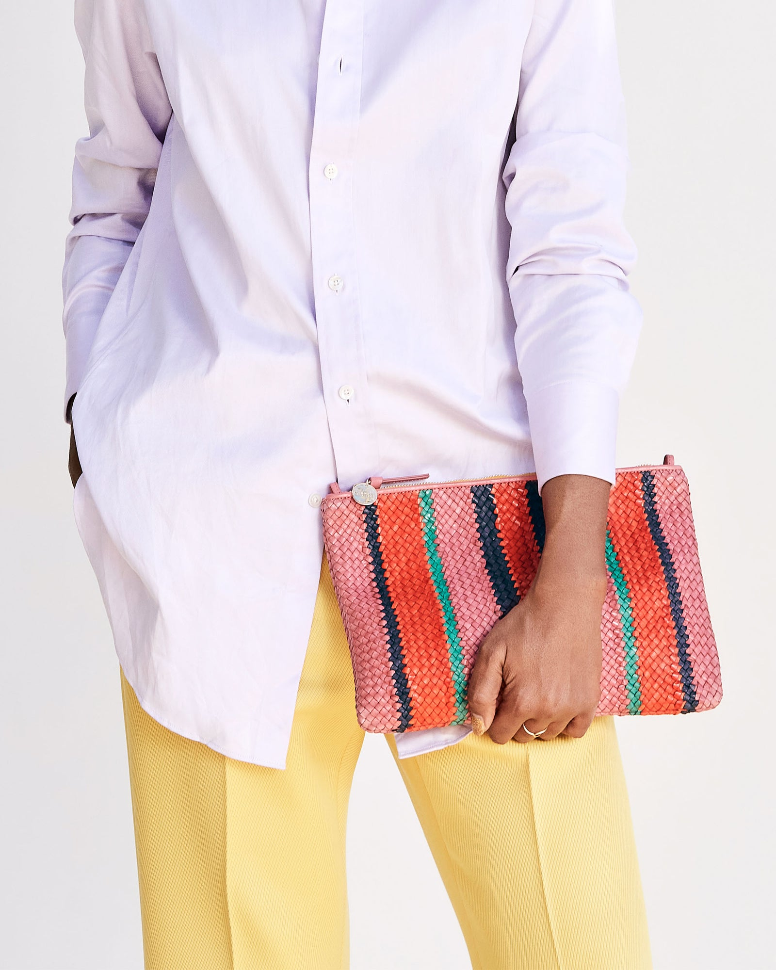 Petal Woven Flat Clutch on MeccaPetal with Poppy, Navy & Mint Opal Woven Stripes Flat Clutch w/ Tabs - on Mecca