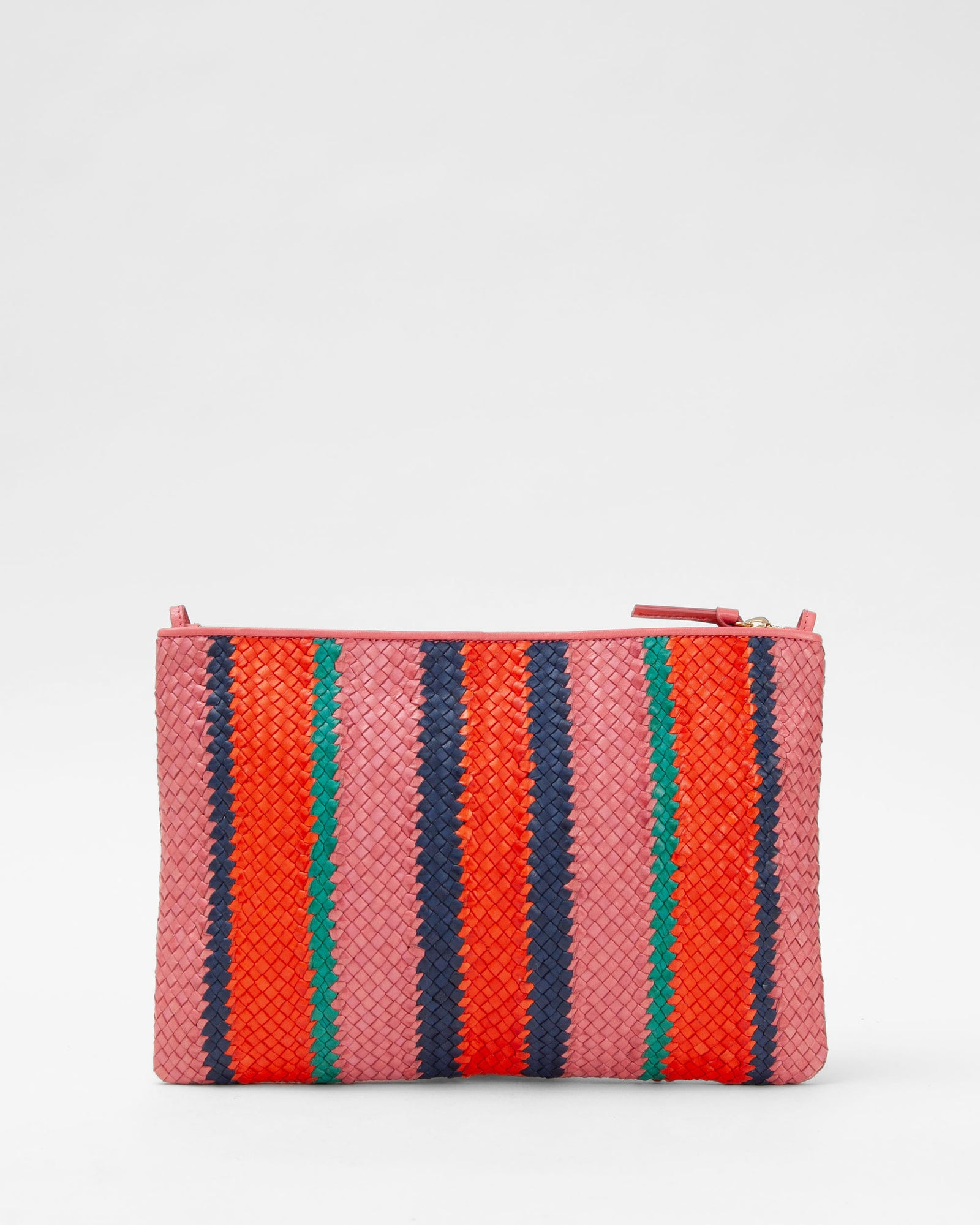 Petal with Poppy, Navy & Mint Opal Woven Stripes Flat Clutch w/ Tabs - Back