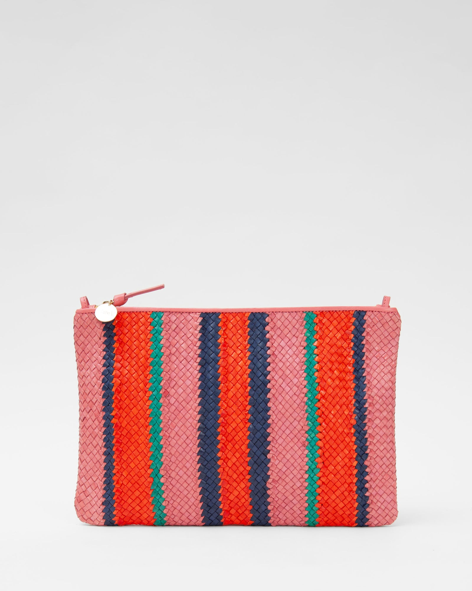Petal with Poppy, Navy & Mint Opal Woven Stripes Flat Clutch w/ Tabs - Front