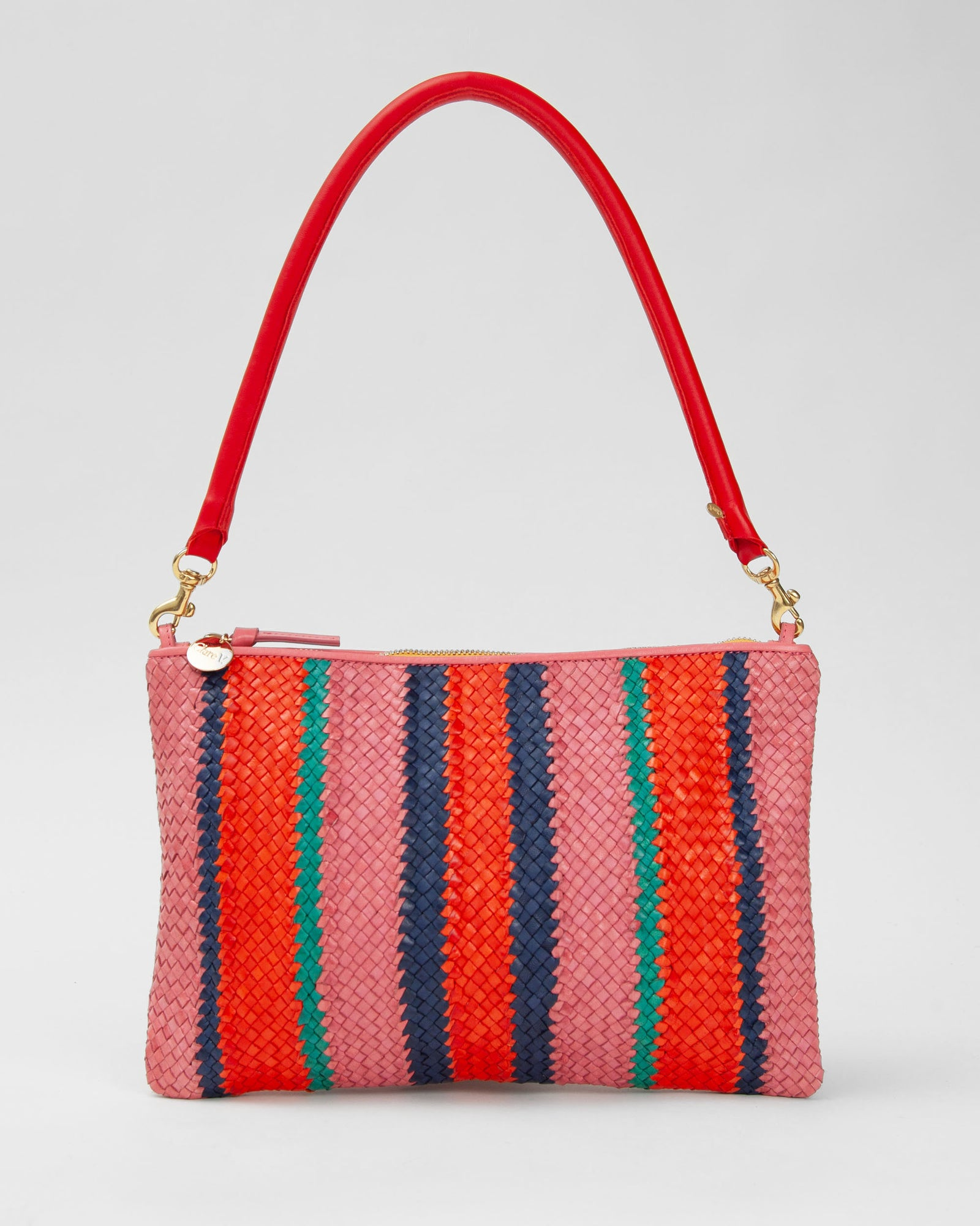 Petal with Poppy, Navy & Mint Opal Woven Stripes Flat Clutch w/ Tabs - with Cherry Red Tubular Shoulder Strap