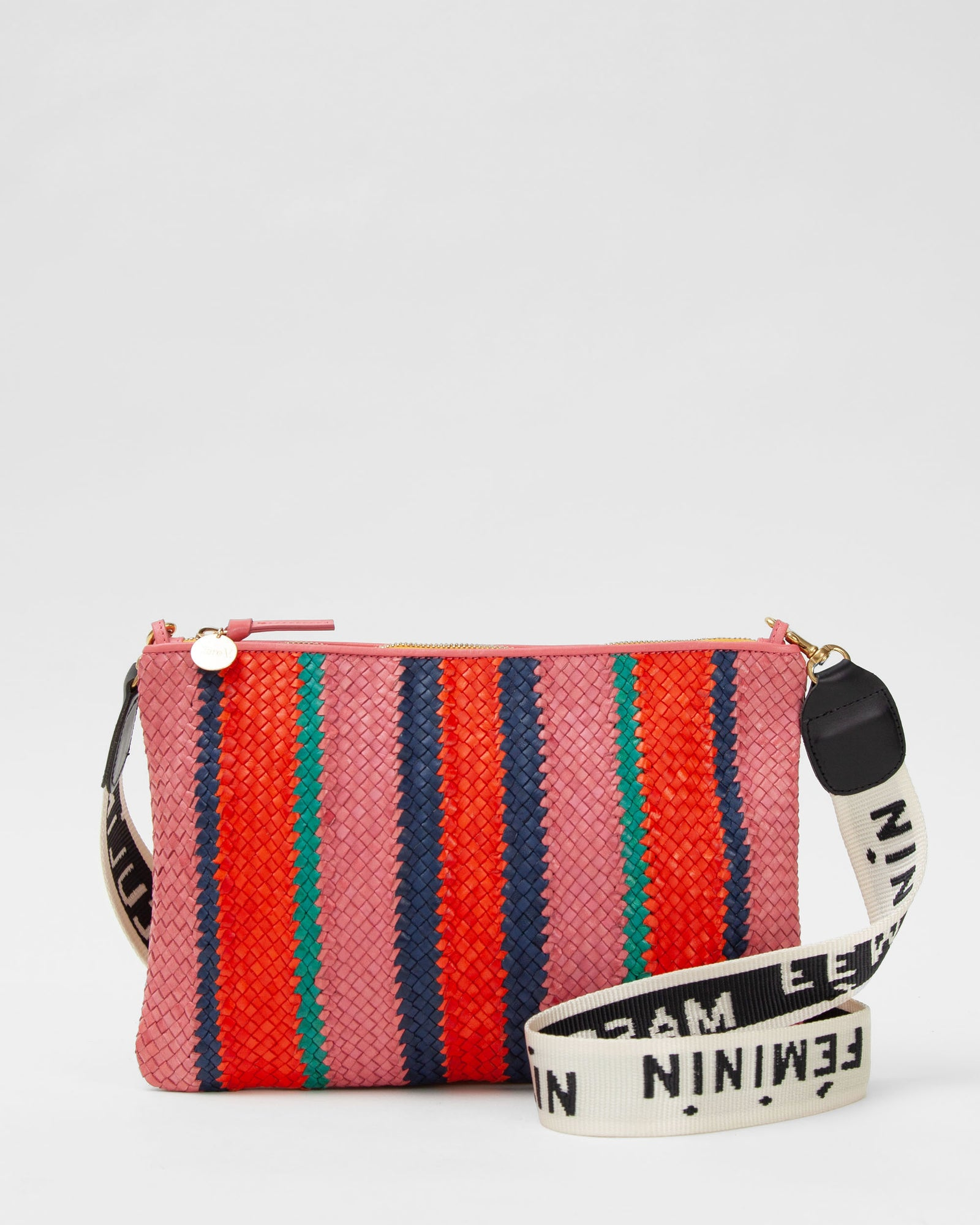 Petal with Poppy, Navy & Mint Opal Woven Stripes Flat Clutch w/ Tabs - with Masculin Feminine Crossbody Strap