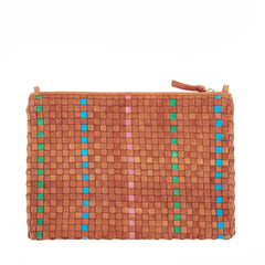 Natural with Parrot Green, Pale Pink and Cerulean Woven Striped Checker Flat Clutch with Tabs - Back