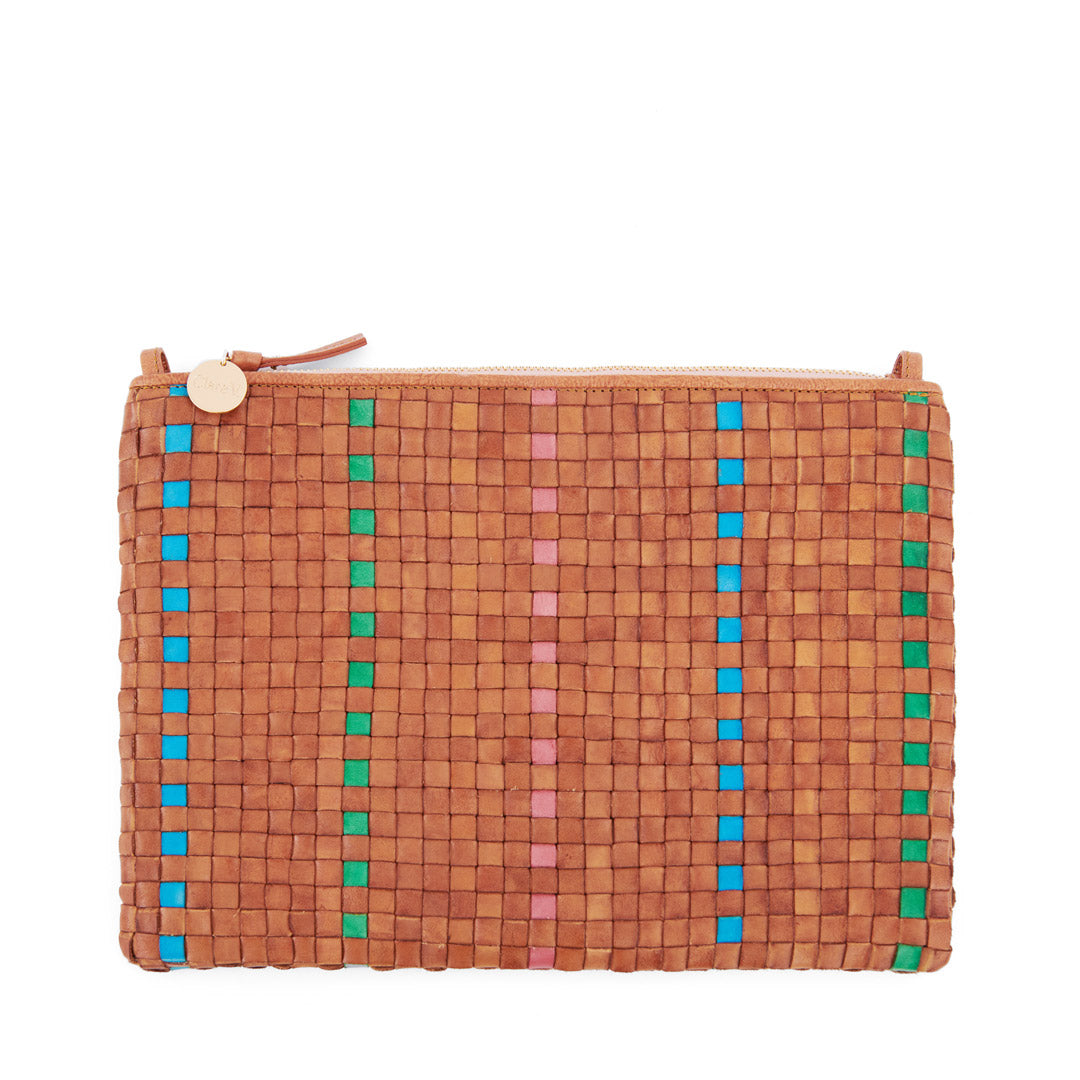 Natural with Parrot Green, Pale Pink and Cerulean Woven Striped Checker Flat Clutch with Tabs - Front