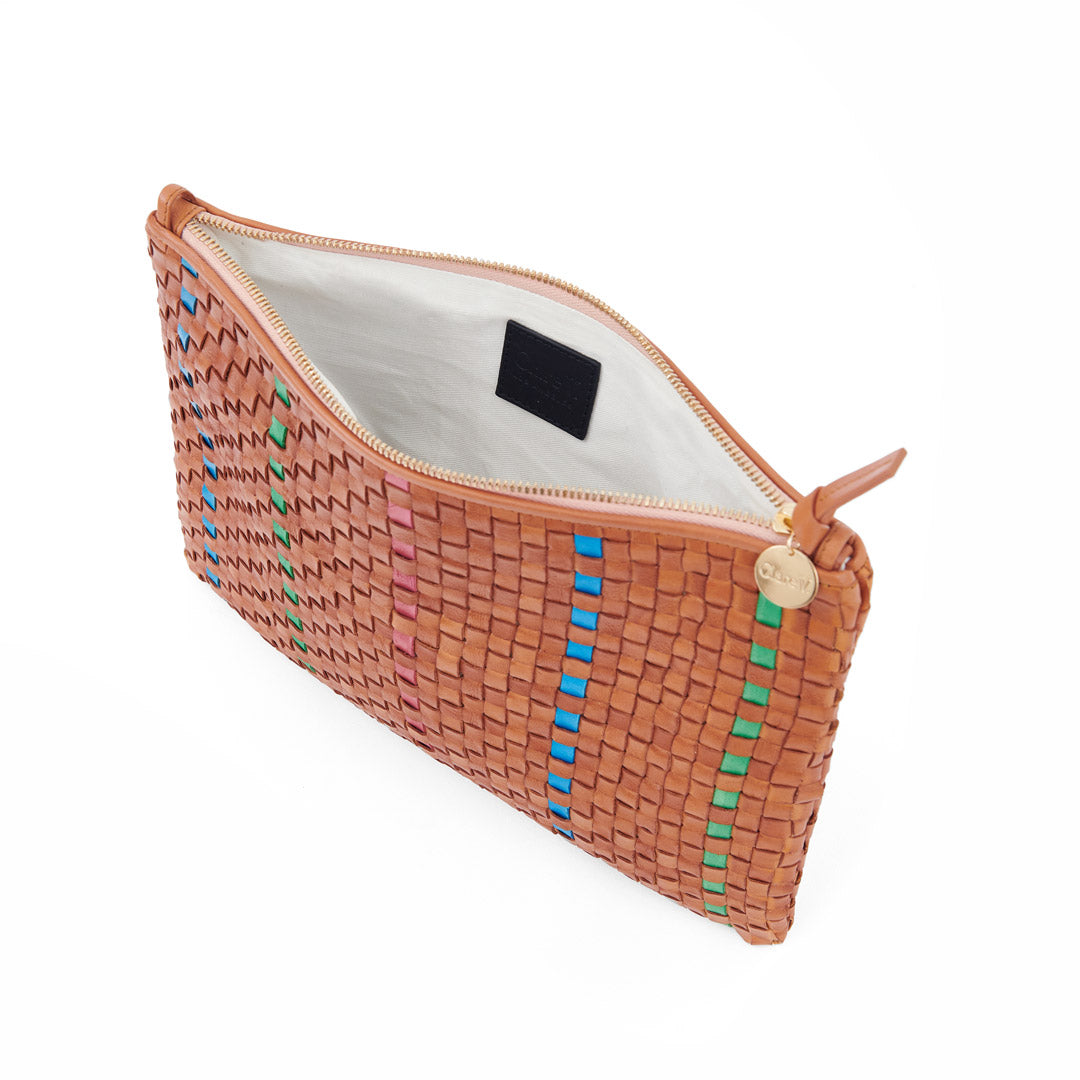 Natural with Parrot Green, Pale Pink and Cerulean Woven Striped Checker Flat Clutch with Tabs - Interior