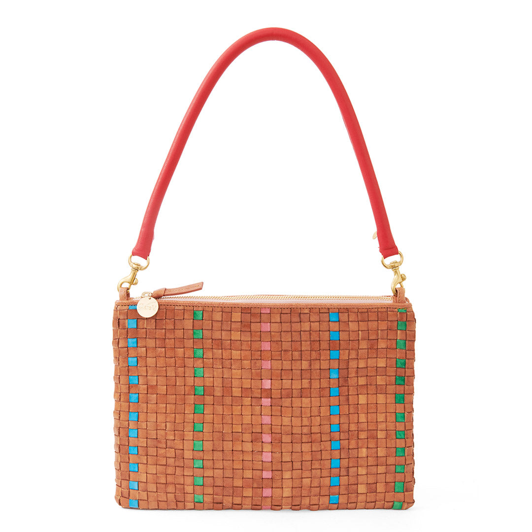 Natural with Parrot Green, Pale Pink and Cerulean Woven Striped Checker Flat Clutch with Tabs with Red Tubular Shoulder Strap