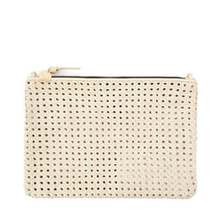 Cream Rattan Flat Clutch with Tabs - Front