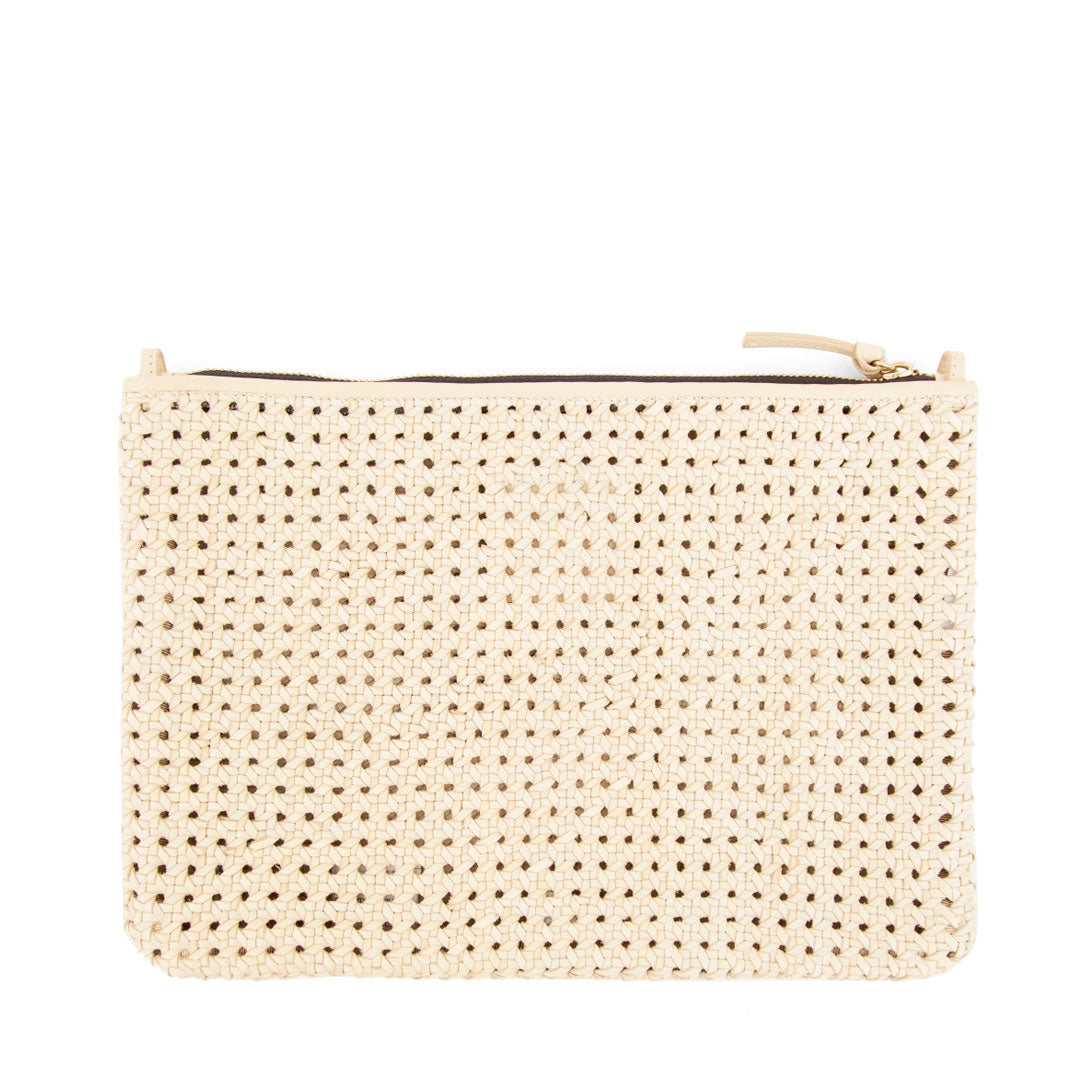 Cream Rattan Flat Clutch with Tabs - Back