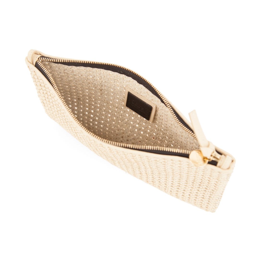 Cream Rattan Flat Clutch with Tabs - Interior