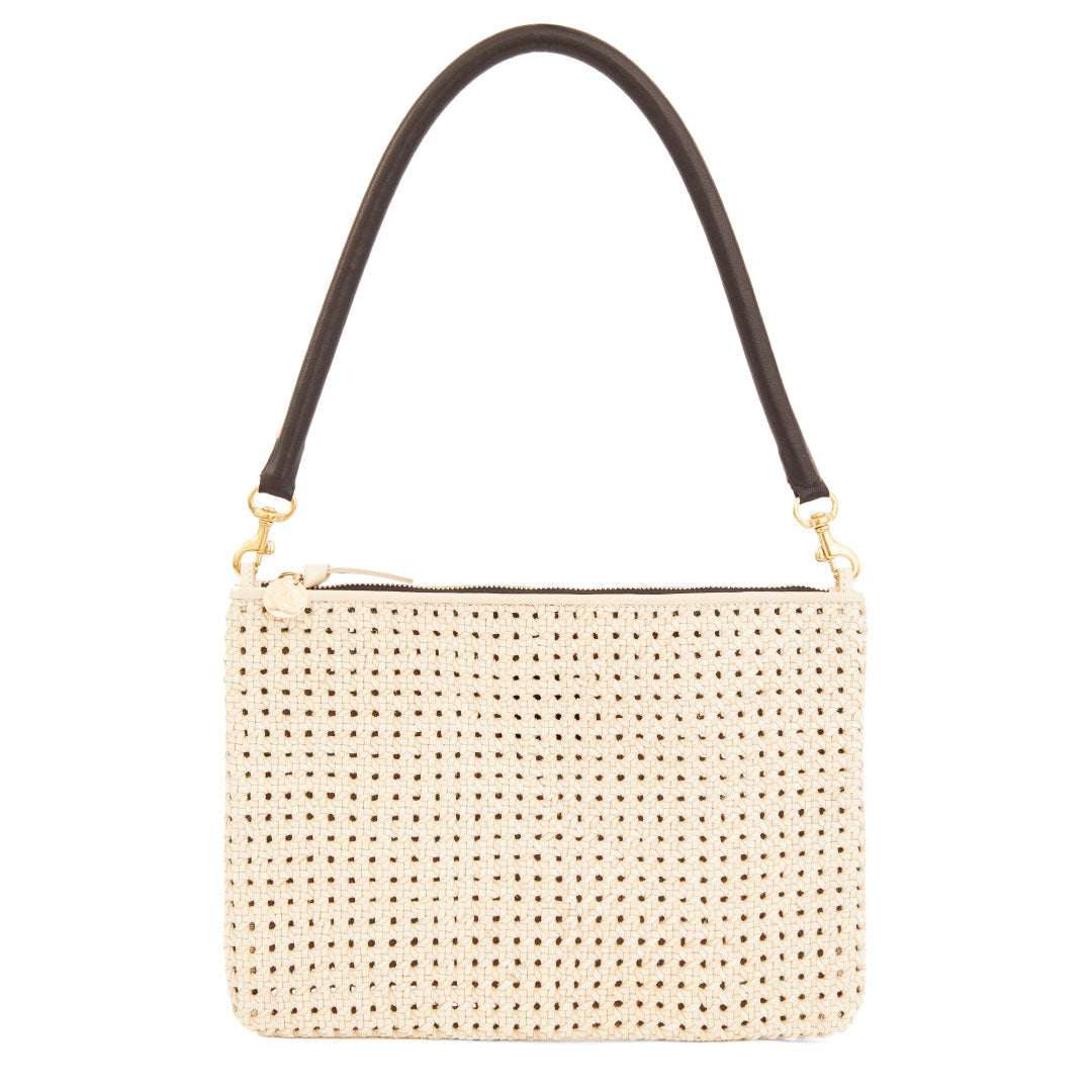 Cream Rattan Flat Clutch with Tabs and Black Tubular Shoulder Strap