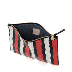 Poppy Striped Snake Flat Clutch - Interior