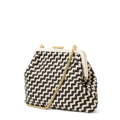 Black and Cream Woven Zig Zag Flore - Back