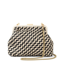 Black and Cream Woven Zig Zag Flore - Front