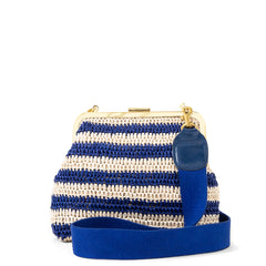 Blue & Cream Raffia Flore with Royal Webbing Strap