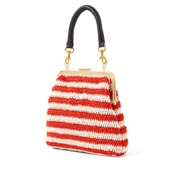 Red & Cream Raffia Flore - Back