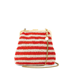 Red & Cream Raffia Flore with Thin Chain Crossbody Strap