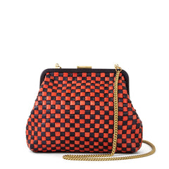 Navy and Red Handwoven Checker Flore - Front