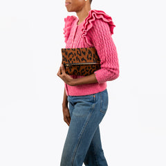 Cognac Pablo Cat Suede Foldover Clutch with Tabs