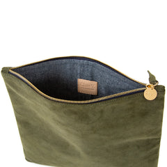 Army Suede Foldover Clutch - Interior