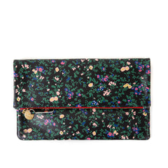 Black Ditsy Floral Foldover Clutch - Front
