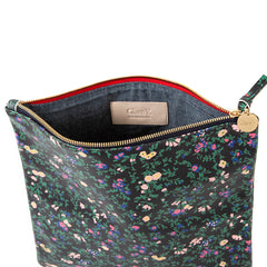 Black Ditsy Floral Foldover Clutch - Interior
