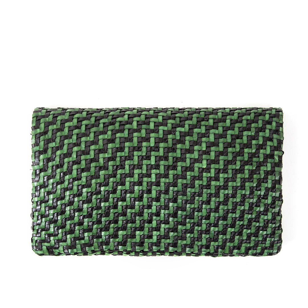 Black and Green Woven Zig Zag Foldover Clutch - Back