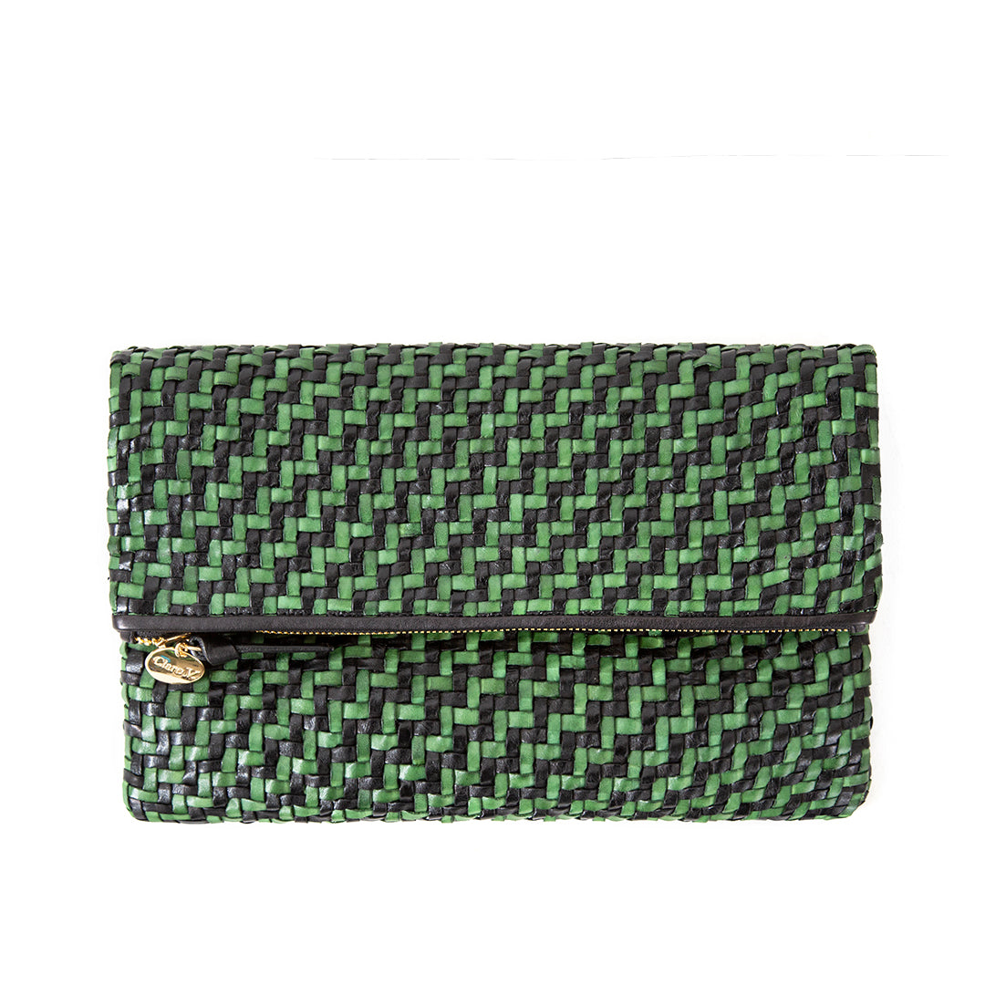 Black and Green Woven Zig Zag Foldover Clutch - Front