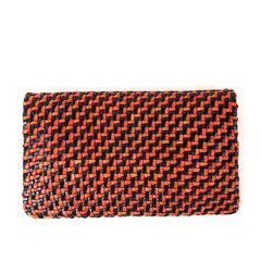 Black and Red Woven Zig Zag Foldover Clutch - Back