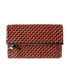 Black and Red Woven Zig Zag Foldover Clutch - Front