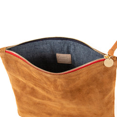 Camel Suede with Navy and Red Cotton Webbing Stripes Foldover Clutch - Interior