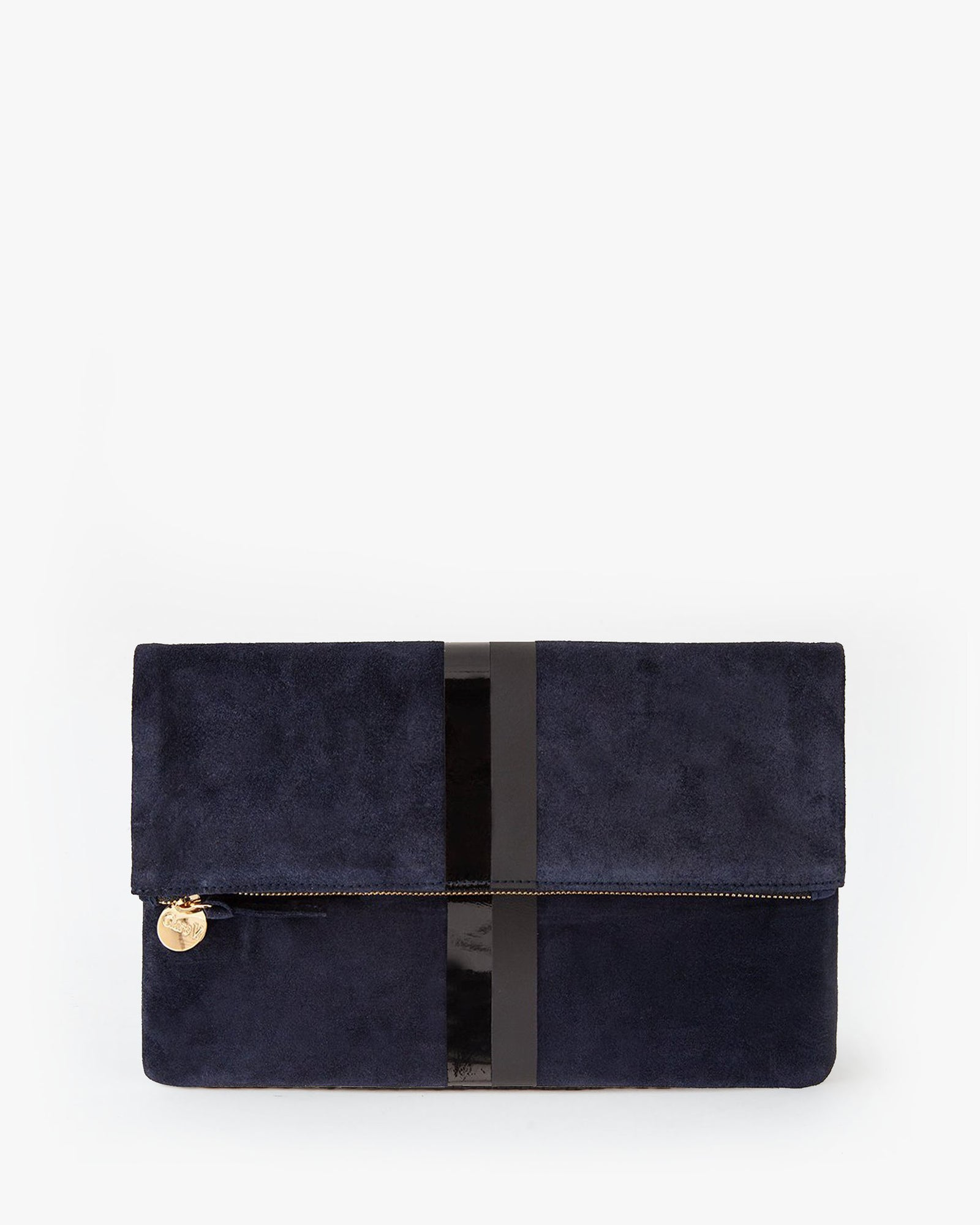 Navy w/ Stripes Foldover Clutch - Front