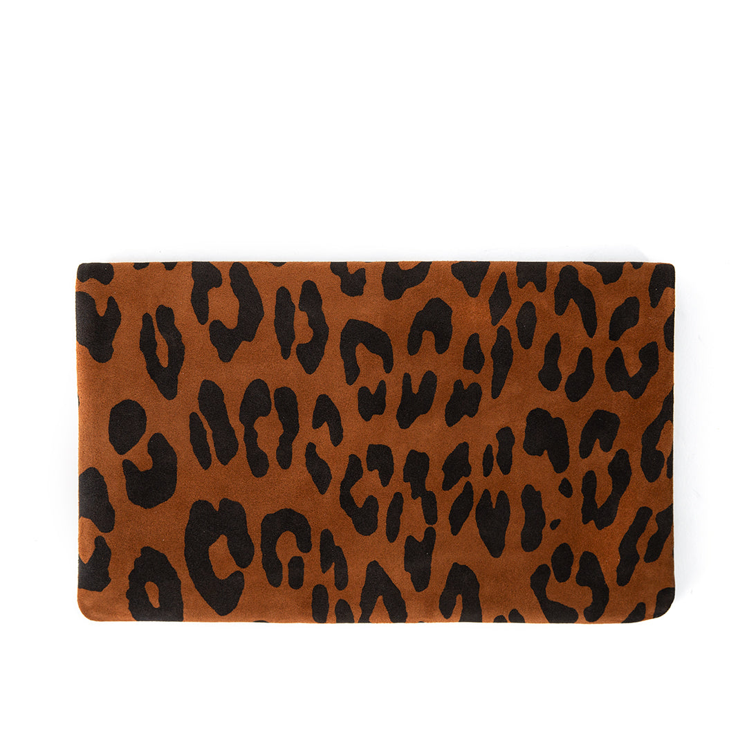 Cognac Pablo Cat Suede Foldover Clutch with Tabs - Back
