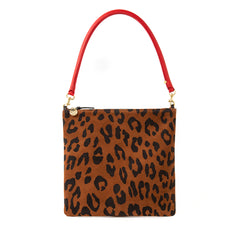Cognac Pablo Cat Suede Foldover Clutch with Tabs with Cherry Red Tubular Shoulder Strap