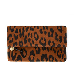 Cognac Pablo Cat Suede Foldover Clutch with Tabs - Front