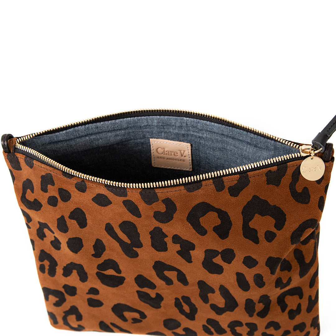 Cognac Pablo Cat Suede Foldover Clutch with Tabs - Interior