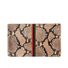 Tan Spring Snake with Evergreen, Navy and Red Mini Stripes Foldover Clutch - Back